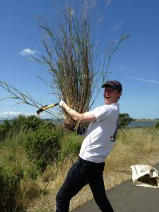 me removing invasive species with BOG for save the bay